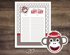 Instant Download Sock Monkey Baby Shower Games by Studio20Designs, $1.00