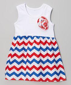 Loving this Red & Blue Zigzag Pinwheel Dress - Infant, Toddler & Girls on #zulily! #zulilyfinds