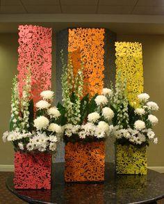 Unique Floral Arrangement Designs by Crossroads Florist , Mahwah NJ Decoration Evenementielle, Stage Decorations, Flower Decorations, Deco Floral, Arte Floral, Floral Design, Unique Flower Arrangements, Corporate Flowers, Church Flowers