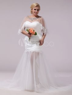 Ivory Half Sleeves Jewel Neck Lace Sweep Tulle Bridal Wedding Gown