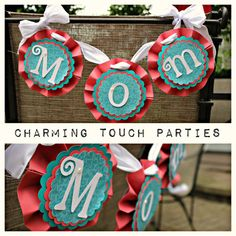Custom coral and aqua Mom chair back by CharmingTouchParties, $25.00