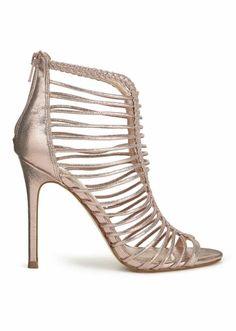Frauen Rose Gold Fräulein Selfridge Caged Heels Zip Back Sandalen - UK Größe 4 #MissSelfridge #Sandals #Clubwear