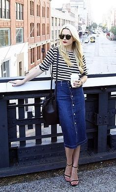 A denim skirt can be worn to the office or on the weekends.