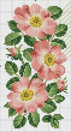 Pretty flowers X-stitch Beaded Cross Stitch, Cross Stitch Rose, Cross Stitch Borders, Cross Stitch Flowers, Counted Cross Stitch Patterns, Cross Stitch Charts, Cross Stitch Designs, Cross Stitching, Cross Stitch Embroidery