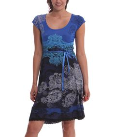 Take a look at this Blue & Gray Paris Dress today!