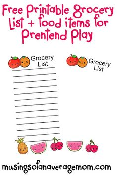 Free printable grocery lists + food items for pasting on the lists for younger kids, plus free diy pretend food
