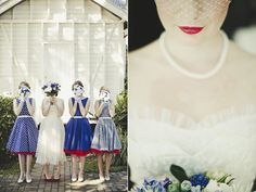 Blue Bridesmaids - red petticoats!  Australian Musical Wedding