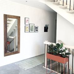 Grid Wallpaper, Plant Box, Nest, Bathrooms, Sweet Home, Black White, House Design, Interiors, Doors