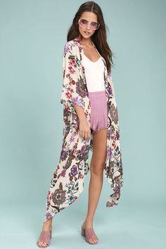 2b36896e8f5d8 Be a kaleidoscope of fun in the Patrons of Peace Rosa Cream Floral Print  Kimono Top