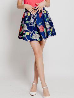 c0ce207502 Blue Retro Flowers Printed Tutu Umbrella Skirt
