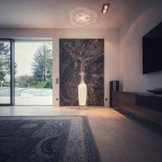 Vase shaped floor lamp with full cut crystal body and inside LED uplights (2700K) create a stunning atmosphere in front of the bespoke marble wall. The soft light is great during the day and an eye-catcher during the night. Perfect for living room, entrance, lobby are any other room the house. Villa, Marble Wall, Vase Shapes, Soft Light, Other Rooms, Catcher, Floor Lamp, Bespoke, Entrance