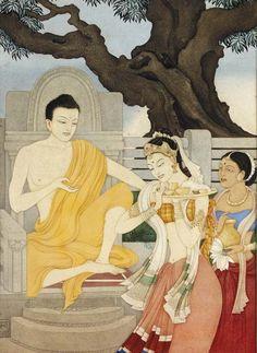 """la-pitonisa-tropical: """" Buddha & Amrapali by Roma Mukerji """" Buddha Life, Buddha Art, Namaste Art, Gautama Buddha, Buddha Buddhism, Buddhist Philosophy, Buddha Painting, Exotic Art, Popular Art"""