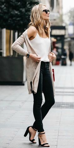 Amy Jackson + black skinny jeans + stilettos + plain vest + simplistic + flattering style + long cardigan + inspiration from Amy! Vest: Club Monaco.