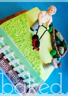Gardening themed cake with grass, bird bath, flower bed and man lawn mowing! Garden Birthday Cake, Birthday Cakes For Men, Cakes For Boys, Cake Birthday, Cupcakes, Cupcake Cakes, Lawn Mower Cake, Allotment Cake, Cake Design For Men