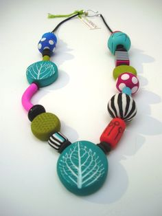 Summer Around the Neck Polymer Clay Necklace Colourful and Original Unique Present under 70 USD. $69.00, via Etsy.