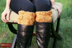 DIY Gift Inspiration! Easy Knitted Boot Cuffs (a 2 hour knit project)  featured on MomAdvice.com.