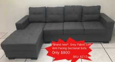 Source Liquidations: Used Furniture outlet - Mississauga & Toronto Sectional Sofa, Couch, Furniture Outlet, Grey Fabric, Toronto, Places To Go, Home Decor, Modular Sofa, Decoration Home