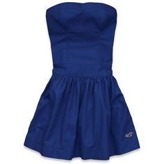 Hollister Co Point Loma Dress ($13) ❤ liked on Polyvore featuring dresses, embroidery dress, embroidered cotton dress, blue dress, cotton dress and blue pleated dress