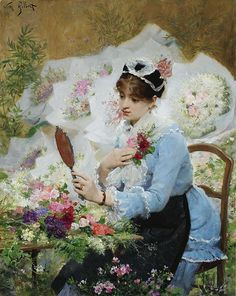 "Victor Gabriel Gilbert (French, 1847 - 1935), ""The Flower Seller"""