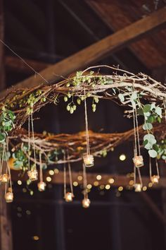 Rustic Branch Chandelier With Hanging Votives.....