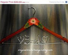 20 OFF SALE Wedding Dress Hangers Painted by OriginalBridalHanger, $24.00