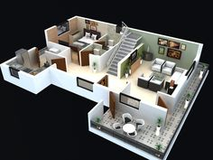 3d Colored House Floor Plans floor plan for modern triplex (3 floor) house click on this link
