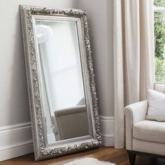 Eclipse leaner floor mirror rectangular in silver, bold and unique piece perfect for your modern home decor - 33983 modern, contemporary cheval decorative mirrors with storage online. Silver Floor Mirror, Ornate Mirror, Mirrors Silver, Mirror Mirror, Decorative Mirrors, Floor Mirrors, Spiegel Design, Leaning Mirror, Ikea Wall