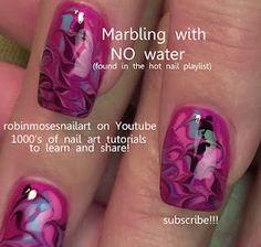 marble nails NO water! nail art!  http://www.youtube.com/watch?v=b6J__ZlRFbU