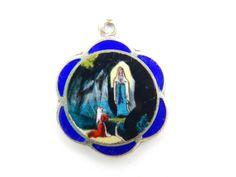 Vintage Enamel Our Lady of Lourdes Catholic Medal - Blue Glass Religious Charm  by LuxMeaChristus