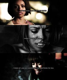 """The Vampire Diaries Bonnie """"In the end, you just get tired. tired of the struggle, tired of losing everyone that matters to you"""" Stefan Salvatore, Vampire Diaries Cast, Vampire Diaries The Originals, Vampire Shows, Bonnie Bennett, Original Vampire, Character Quotes, Vampire Dairies, Mystic Falls"""