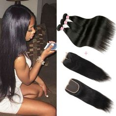 Online Shop 8A Brazilian Virgin Hair Straight With Closure Human Hair Bundles With Lace Closures Ali Queen Hair Products With Closure Bundle | Aliexpress Mobile