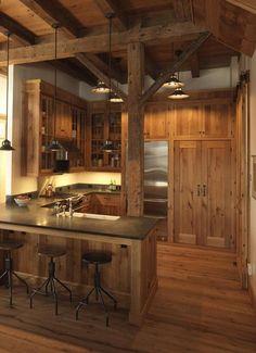 Rustic cabin ideas rustic cabin decor rustic cottage decorating ideas small cabin decor idea all i Rustic Cabin Kitchens, Rustic Kitchen Design, Rustic Design, Rustic Farmhouse, Cottage Kitchens, Rustic Cottage, Farmhouse Style, Design Rustique, Cabin Homes