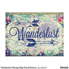 Wanderlust Vintage Map Travel Postcard SOLD on #Zazzle