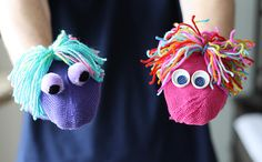 DIY Monster Puppets, old mismatched socks,mittens  and yarn, just too cute