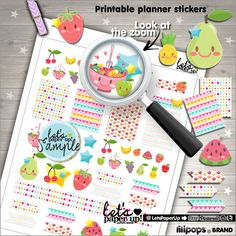 Fruit Stickers, Printable Planner Stickers, Meal Stickers, Kawaii Stickers, Erin Condren, Food Stickers, Planner Accessories, Green