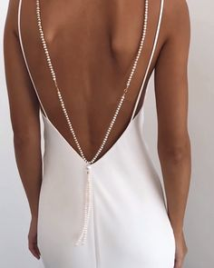 The back piece you never knew you needed. We're bringing sexy back with our new MATA backpiece - designed to be attached to your dress with clasps, or worn around your neck like a necklace, with the length elegantly draped over your back Top Wedding Dresses, Wedding Dress Trends, Prom Dresses, Sexy Dresses, Summer Dresses, Formal Dresses, Sparkly Dresses, Backless Dresses, Gown Wedding