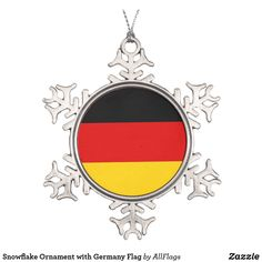 Shop Germany, flag snowflake pewter christmas ornament created by AwesomeFlags. Snowflake Ornaments, Ball Ornaments, Snowflakes, Christmas Tree Decorations, Christmas Tree Ornaments, Flags Europe, German Christmas, Christmas Stuff