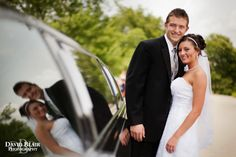 Your photographer can make use of almost any detail from your day like done here with the reflection from the limo.  Photo by Louisville wedding photographer David Blair.