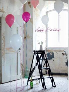 Happy birthday#balloons#ladder#like#black#white#pink#birthday