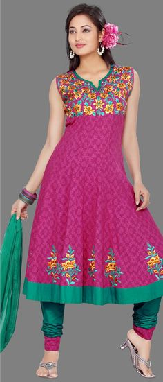 Dusty #Pink Cotton Jacquard #Churidar Kameez	 @ $ 67.23