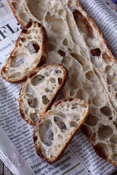 Even more 36 hour sourdough baguettes - never gets old Sourdough Baguette Recipe, Ciabatta Bread Recipe, Sourdough Recipes, Sourdough Bread, Bread Recipes, The Fresh Loaf, Bread Dishes, Bread Bun, Artisan Bread