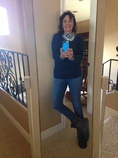 12/19/2015 Winter wear - Loft pullover sweater, Old Navy popover in gingham, Loft Outlet skinny curvy jeans, faux Uggs from Payless, pearls from Charming Charlies.
