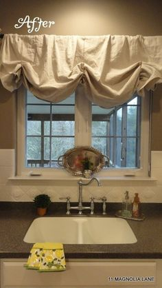 Home ideas idea box by le company ruffled curtains ruffles kitchen options the balloon valance over the sink is completely no sew i just draped the dropcloth another 6 x and tied three pieces of twine around solutioingenieria Image collections
