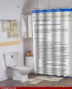 Unique shower curtain - internet explorer error page display Interior Exterior, Home Interior, Bathroom Interior, Modern Bathroom, Bathroom Ideas, Modern Shower, Modern Interior, Interior Design, Funny Shower Curtains