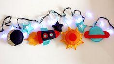 Blue Star Fairy lights, rocket ship, space theme decor, modern nursery, boys room decor, girls room decor