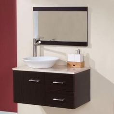 Domani Sicily 30-1/2 in. Vanity Combo in Ebony with Natural Stone Vanity Top in Travertine and Mirror-SI30P5UCOM-EB at The Home Depot