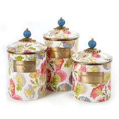 Morning Glory Canisters: Large, Medium & Small: Keep countertops tidy in MacKenzie-Childs style with a Morning Glory Canister. With a blooming pattern of our favorite rise-and-shine vines and hand-painted enamel lids, you'll be forgiven if you want to overhaul the whole pantry. Collect all three convenient sizes for countless contents.
