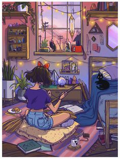 Studio Ghibli Kiki's Delivery Service Arte Disney, Disney Art, Psychedelic Art, Aesthetic Art, Aesthetic Anime, Purple Aesthetic, Illustrator, Art Mignon, Witch Art