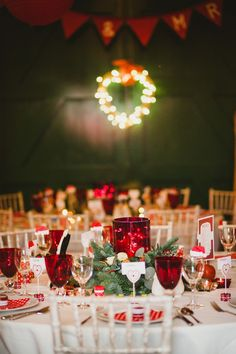 Reception Decor Retro Red and Polka Dots For A 1950s Style Village Hall Christmas Wedding | Love My Dress® UK Wedding Blog