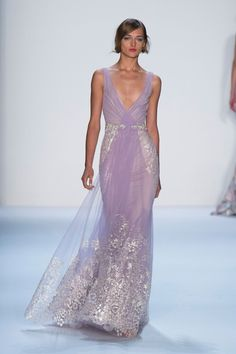 Badgley Mischka at New York Fashion Week Spring 2014 - Love the soft lavender and well done bling.